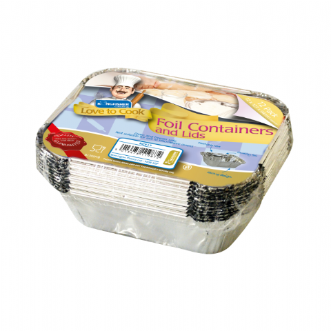 Small Foil Trays & Lids - Kingfisher Catering Love To Cook (Pack of 12)